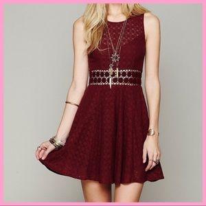 "FREE PEOPLE | ""Daisy Lace"" Burgundy Skater Dress"